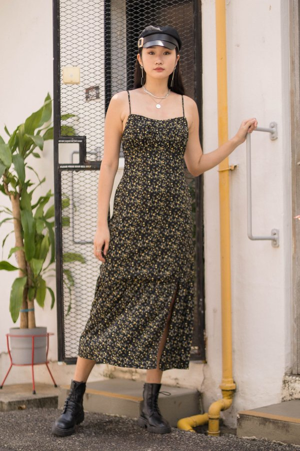 At First Glance Maxi in Black Floral