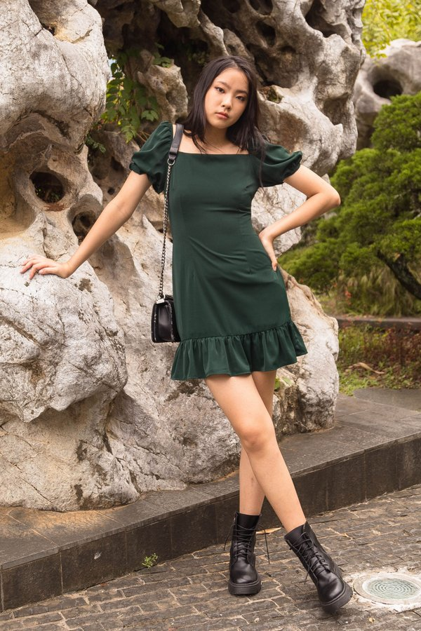 Squared Dress in Dark Emerald