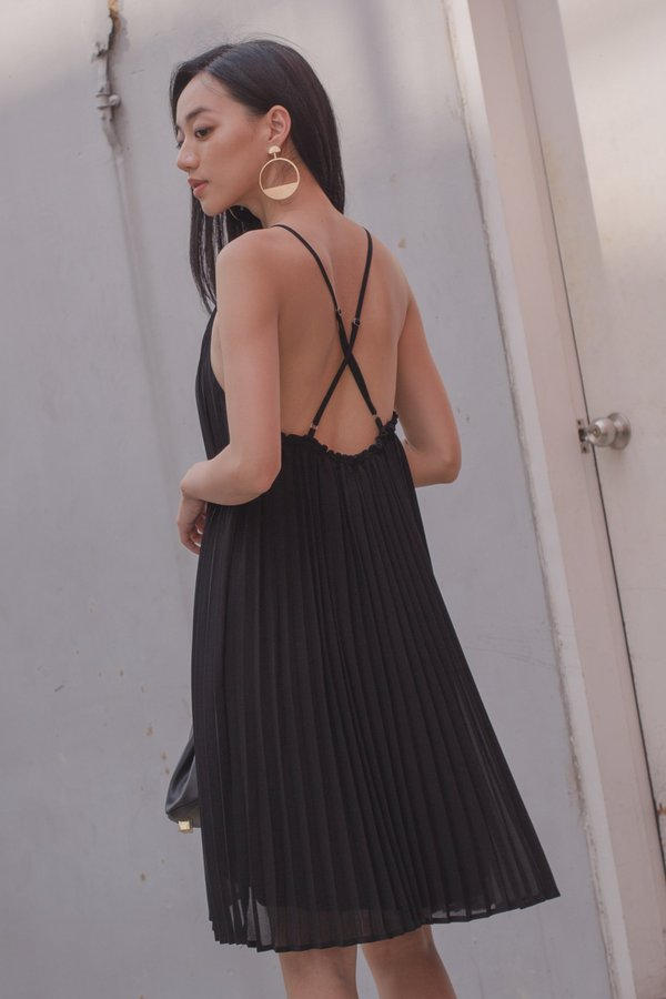 Pleats and Thank You Dress in Black