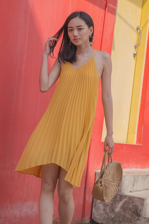 Pleats and Thank You Dress in Butter Yellow