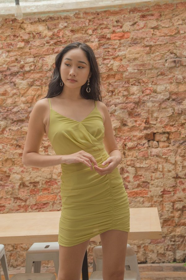 Side Chick Dress in Citron Green