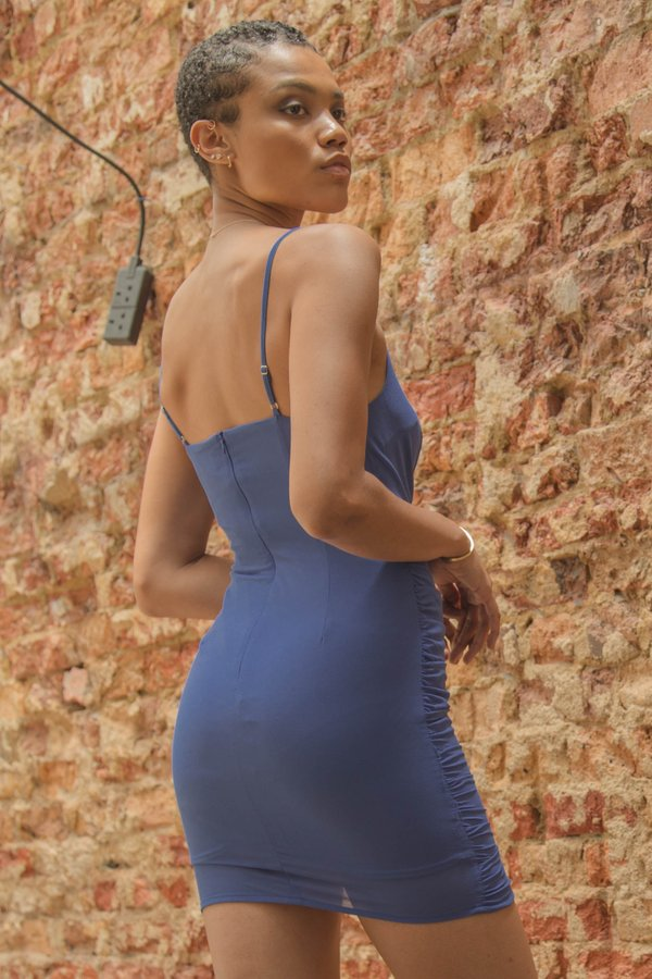 Side Chick Dress in Sapphire Blue
