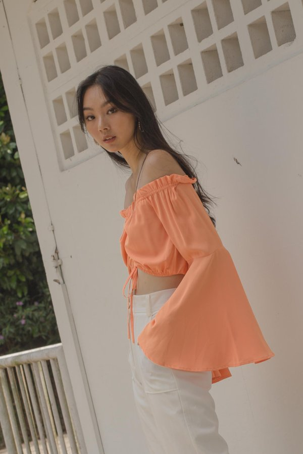 Glide Ruched Top in Temple Orange