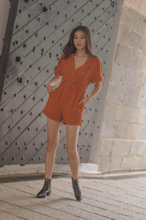 Cadet Romper in Marmalade Orange