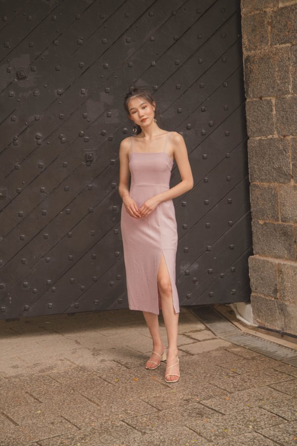 Hot Fix Buckle Midi in Lemonade Pink