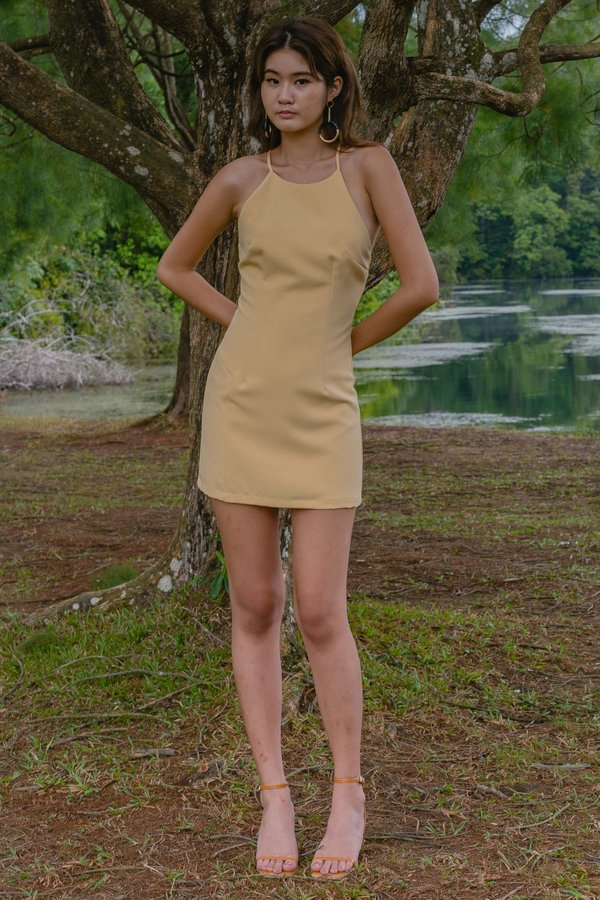 Looped Over Dress in Banana Yellow
