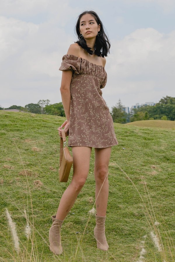 Bloom Dress in Brown Floral
