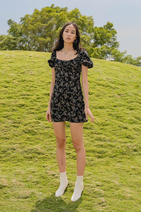 Bloom Dress in Black Floral