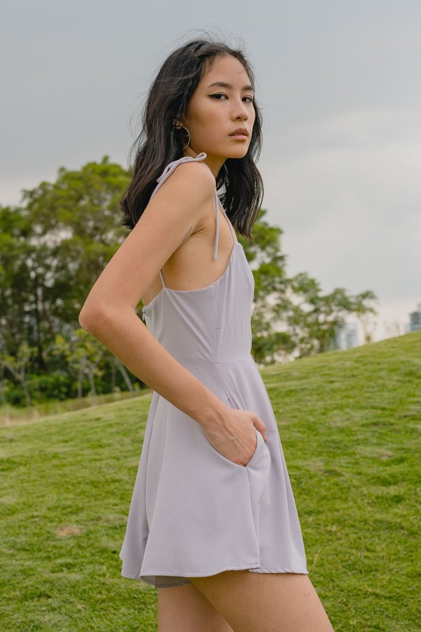 Double Trouble Romper in Pale Grey