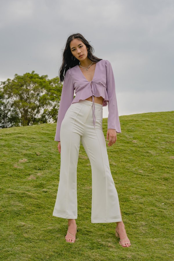 Flaunt Tie Top in Faded Lilac