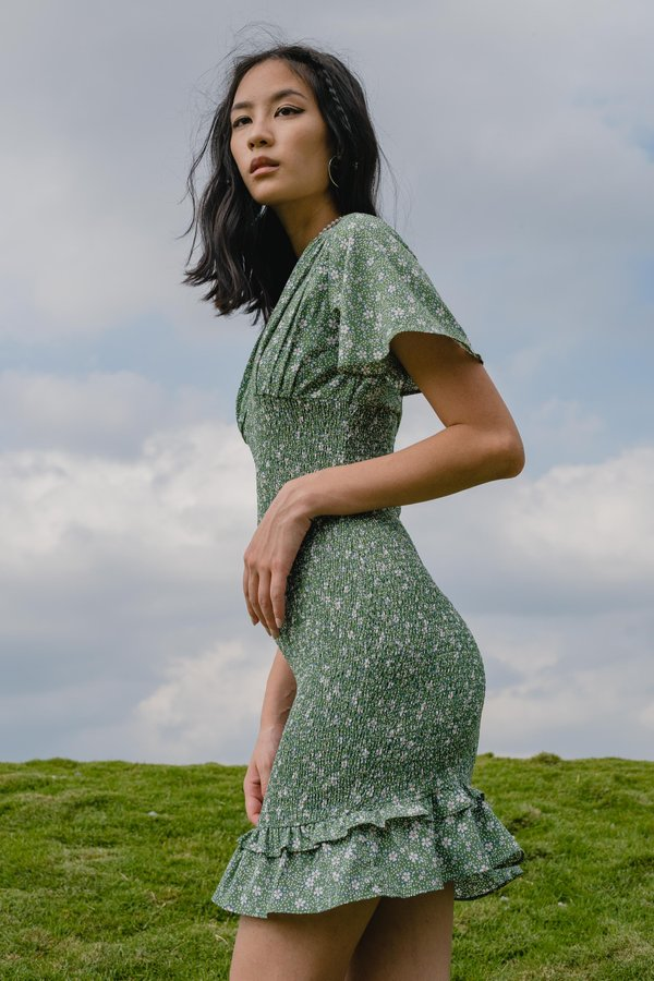 Into The Woods Dress in Green Floral