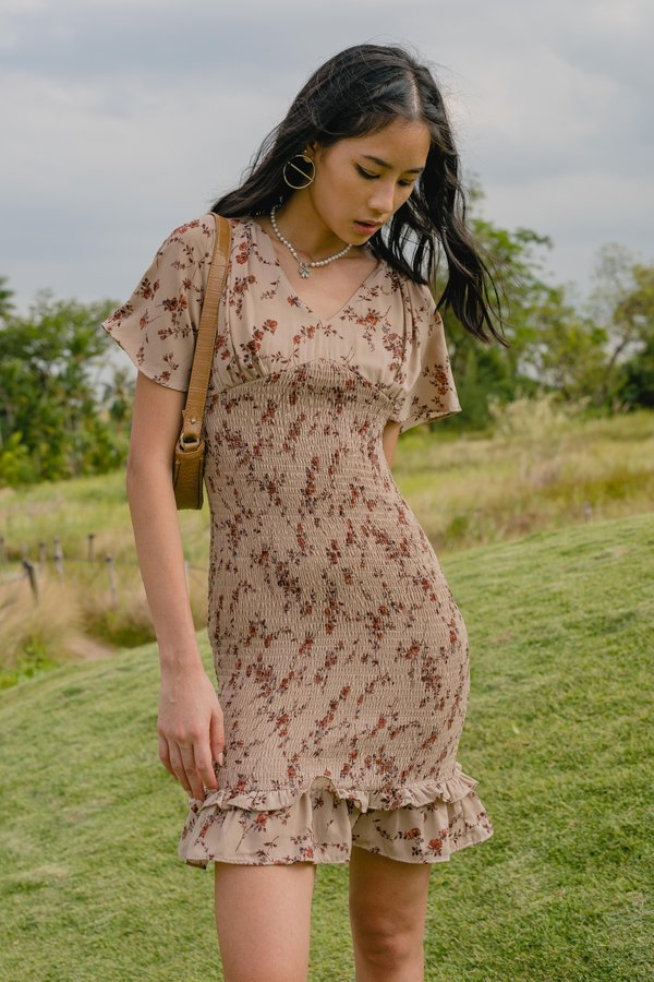 Into The Woods Dress in Brown Floral