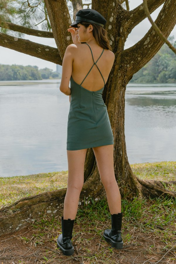 Looped Over Dress in Seagrass Green