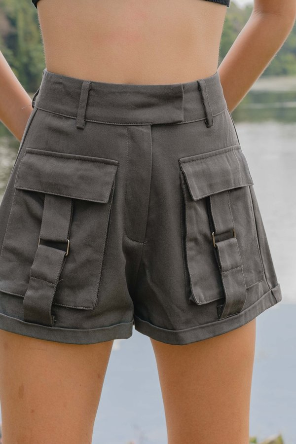 Buckle Up Shorts in Dark Grey