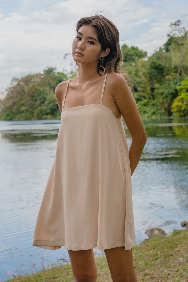 Clear Cut Cami Dress in Nectar Beige