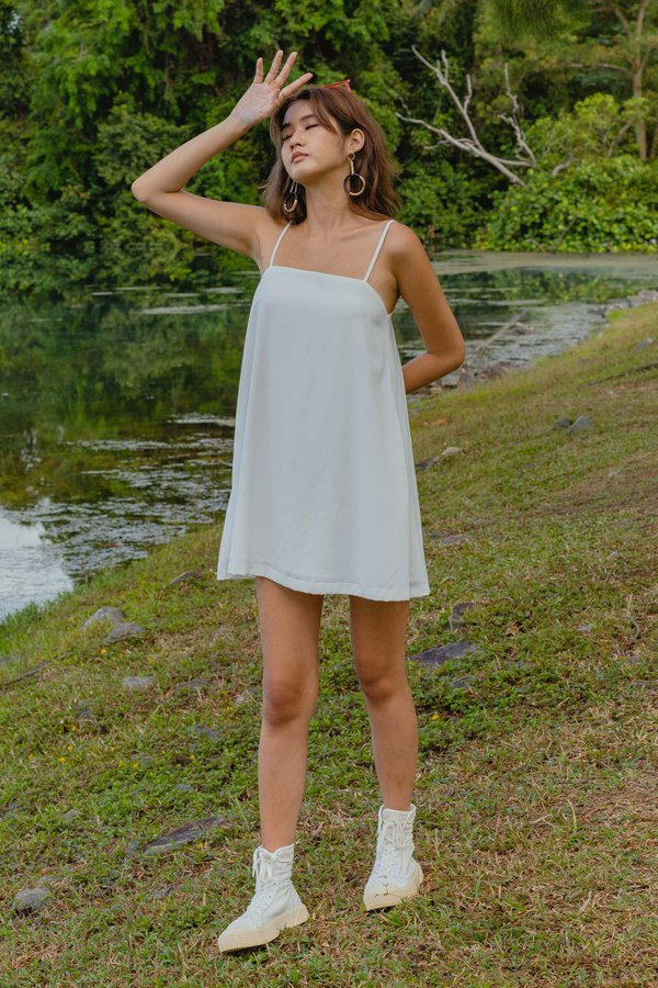 Clear Cut Cami Dress in White